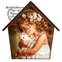Ключница  домик Девочка с котенком 18 * 23 см, ручная работа, Подарок в семью, вешалка