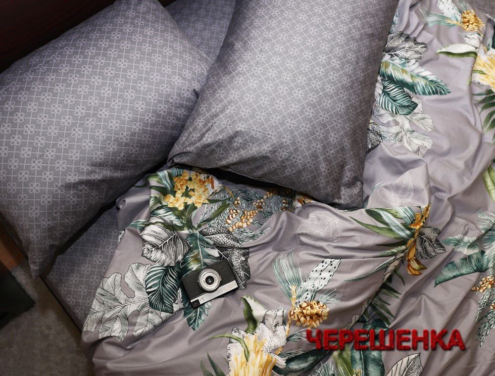 Двуспальный набор постельного белья 180*220 из Сатина №032AB Черешенка™