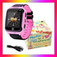 Детские умные смарт часы Smart Baby watch Q528 с GPS розовый сенсорный экран с камерой и прослушкой + подарок