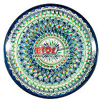 Ляган (узбекская тарелка) 37х4см для подачи плова керамический (ручная роспись) (вариант 17), фото 1