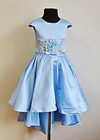 Нарядное детское платье со шлейфом на девочку 6-7 лет 122размер, голубое, праздничное