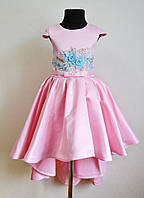 Нарядное детское платье со шлейфом на девочку 6-7 лет 122размер, розовое, праздничное