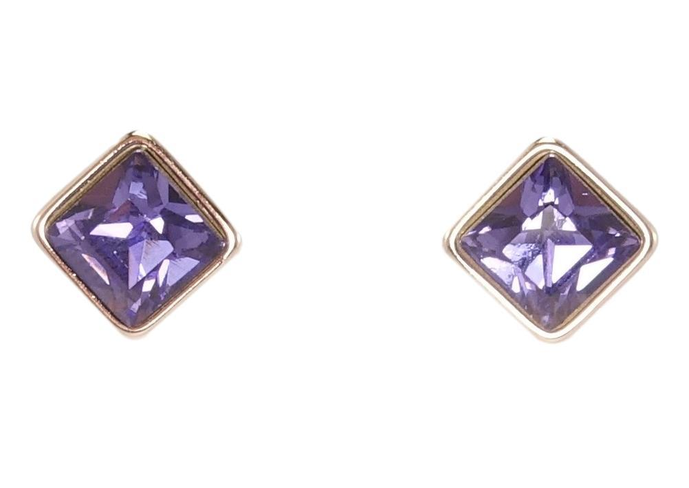 "Серьги ХР Родий с кристаллами Swarovski гвоздики ""Ромбовый кристалл цвет Purple Velvet"" 8 х 8мм"