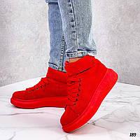 Красные замшевые кроссовки хайтопы, фото 1