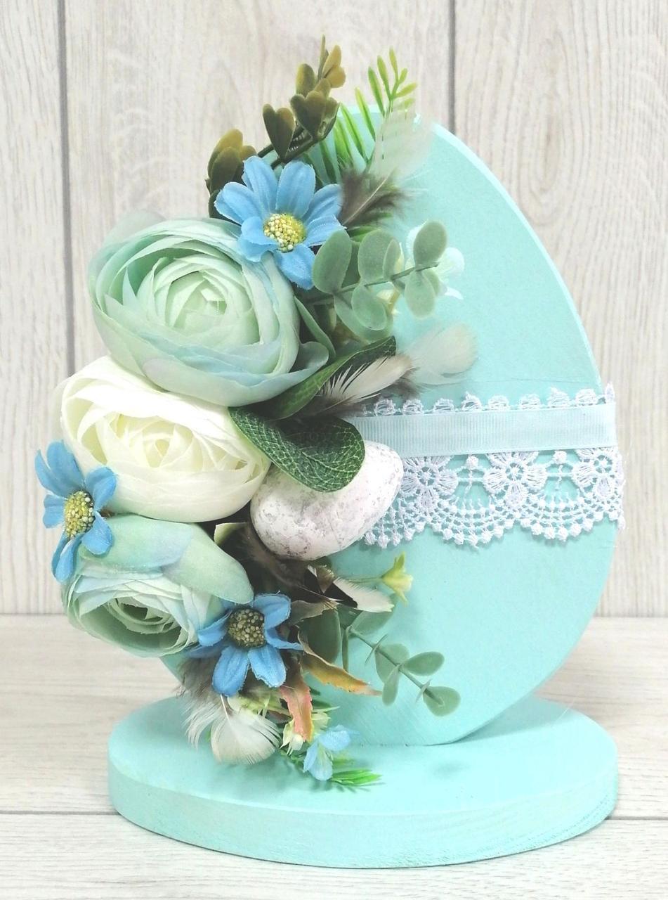 Пасхальне дерев'яне яйце Волинські візерунки м'ятними квітами