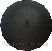 Зонт трость мужской черный (16 спиц) Качество! /полуавтомат с большим куполом черный, фото 3