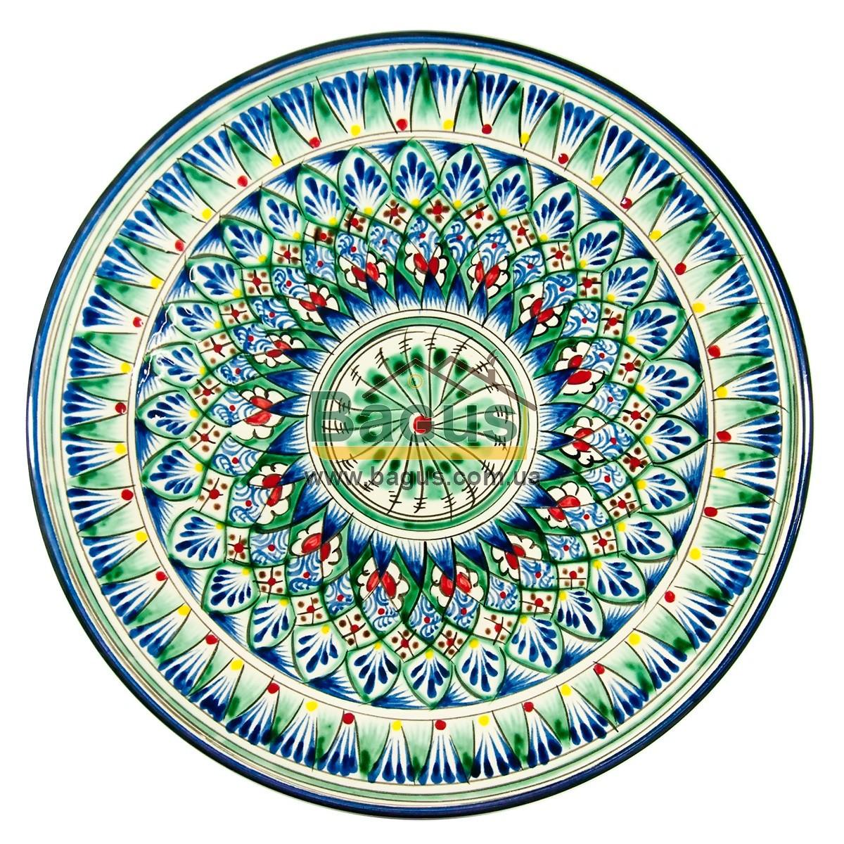 Тарілка узбецька діаметр 27см висота 3,5 см ручна робота 2704-11