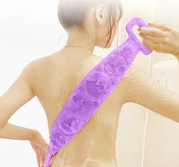 Силіконова мочалка для душу двостороння 70см натуральна масажер для тіла спини проти целюліту фіолетова