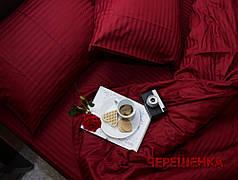 Полуторный набор постельного белья 150*220 из Страйп Сатина №501652 Черешенка™