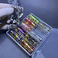 Фольга-сетка для ногтей декоративная в контейнере разные цвета