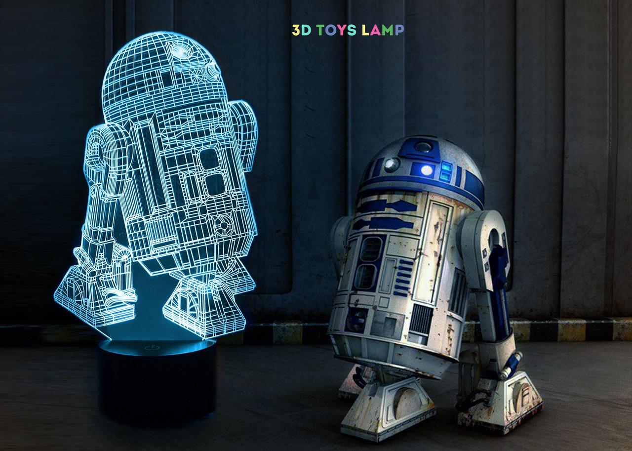 """Ночник - светильник детский """"R2D2"""" 3DTOYSLAMP"""