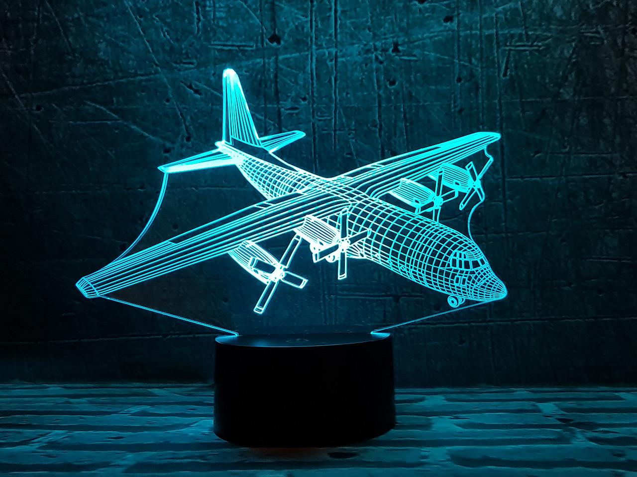 """3D светильник ночник """"Самолет 4"""" 3DTOYSLAMP"""