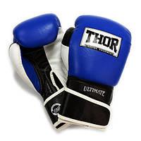 Перчатки боксерские THOR ULTIMATE 14oz /Кожа /сине-черно-белые, фото 1