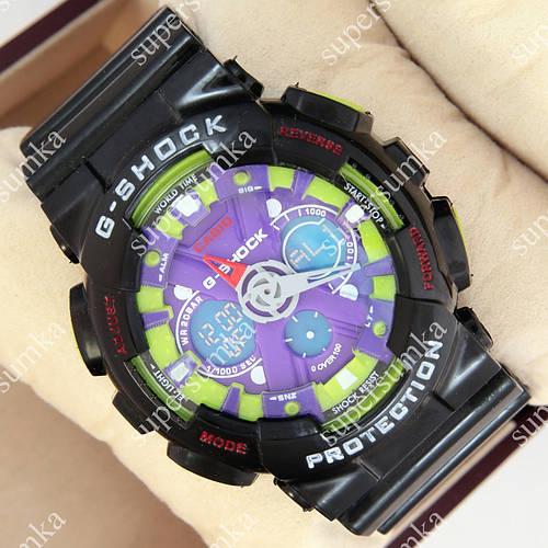 Молодежные спортивные наручные часы G-Shock GA-120 Black-Purple-Greed 1006-0213