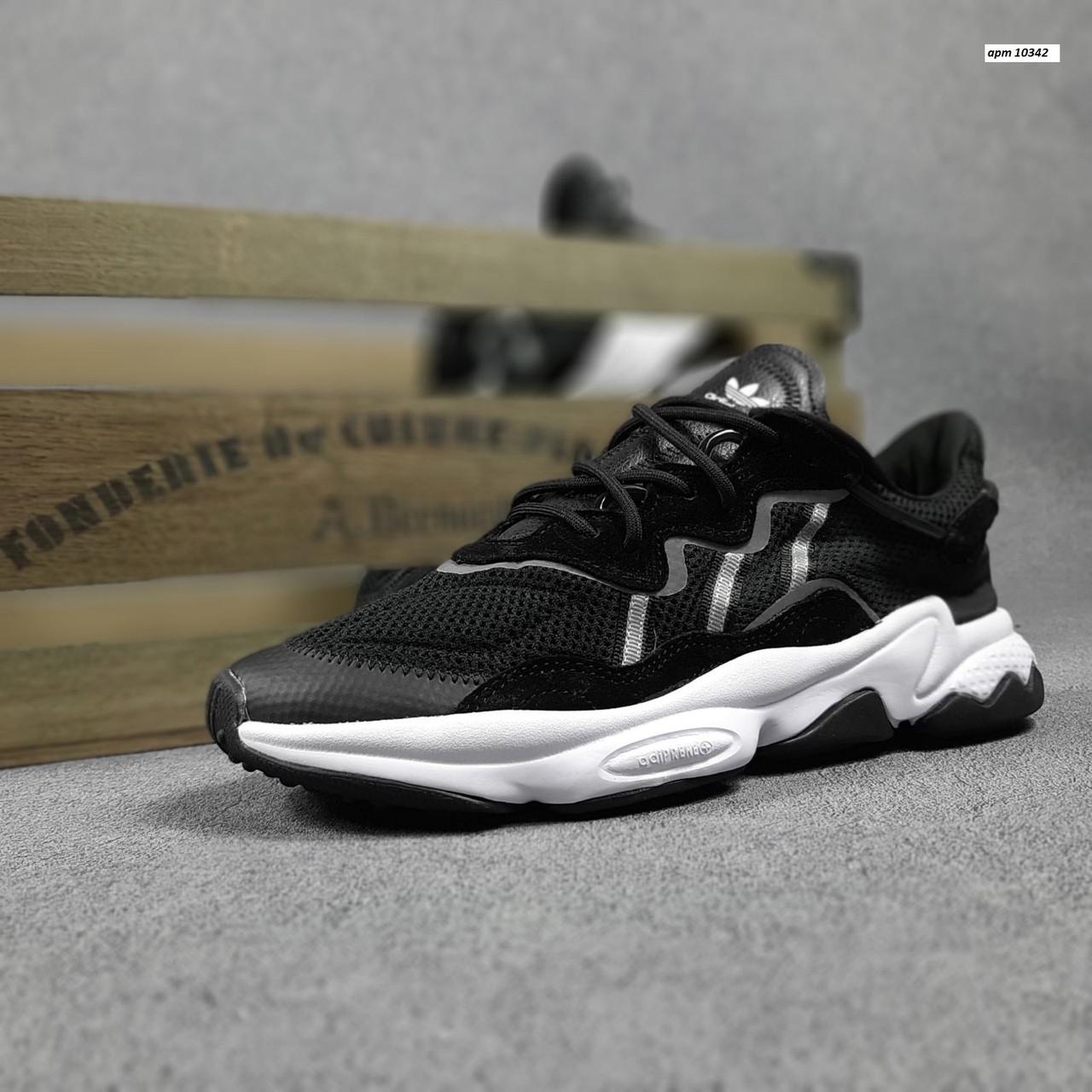 Мужские спортивные кроссовки Adidas Ozweego (черные с белым) 10342 демисезонные низкие кроссы