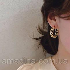 Жіночі сережки кільця 2,5 см золото вигнуті ланцюжки, женские серьги кольца золотые цепочки