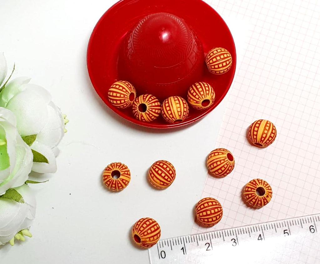 (20гр≈27 шт) Круглые бусины под дерево Ø10мм с отверстием 3 мм, пластик