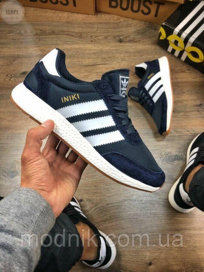 Мужские кроссовки Adidas iniki Runner (сине-белые) 108PL весенние спортивные повседневные кроссы