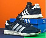 Мужские кроссовки Adidas iniki Runner (сине-белые) 108PL весенние спортивные повседневные кроссы, фото 9