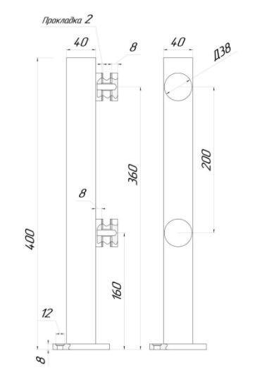 ODF-02-24-02-H400 Стойка для стекла из нержавейки на точечных коннекторах для перил и ограждений из стекла