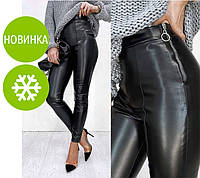 """Утепленные трендовые кожаные леггинсы на флисе """"Style"""", фото 1"""