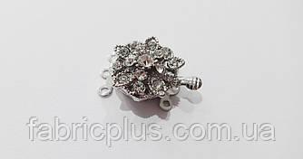 Застежка для бус браслетов цвет серебро со стразами 16 мм коробочка