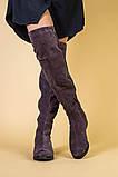 Замшевые зимние ботфорты цвета капучино, фото 6