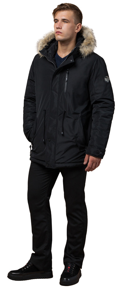 Черная мужская парка зимняя с кнопками модель 31720 (ОСТАЛСЯ ТОЛЬКО 46(S))