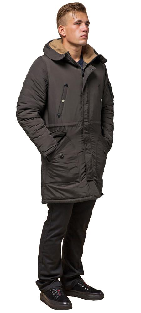 Парку коричнева чоловіча зимова подовжена модель 90520 розмір 46 (S)