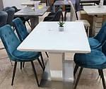 Стіл обідній МДФ + матове скло TMM-51 білий, розкладній, фото 9