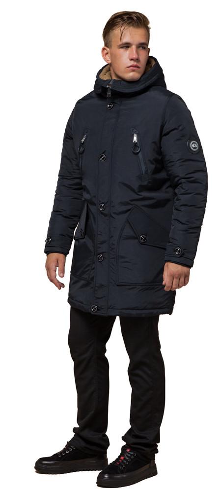 Чорно-синя парку чоловіча зимова модель 96120 розмір 44 (XS)