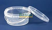 Відро 0,5 л з харчового пластику круглий з кришкою (прозоре)