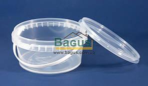Ведро 0,5л из пищевого пластика круглое с крышкой (прозрачное)