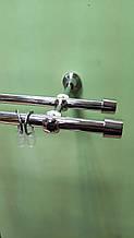 """Карниз металевий подвійний D16+16мм. Насадка типу """"Лист Клена""""(як на фото), Довжина 3.0 м. Колір Хром."""