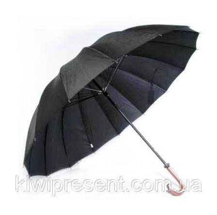 Зонт трость мужской черный (16 спиц) Качество! /полуавтомат с большим куполом черный, фото 2