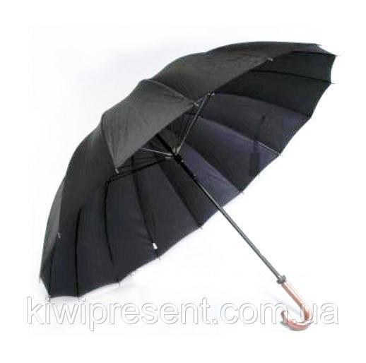 Зонт трость мужской черный (16 спиц) Качество! /полуавтомат с большим куполом черный