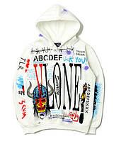 Молодежный худи унисекс Vlone ABC White / Кенгуру толстовка кофта хайп с капюшоном цветная Оверсайз белая