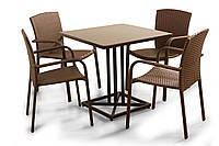 """Комплект меблів для літніх майданчиків """"Тетра Люкс"""" стіл (80*80) + 4 стільця Венге, фото 1"""