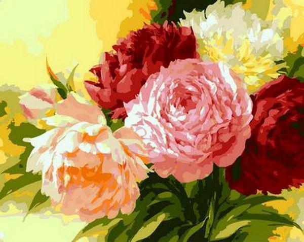 Картина рисование по номерам Mariposa Шикарные пионы MR-Q1351 40х50 см Цветы, букеты, натюрморты набор для