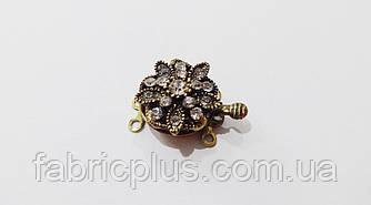 Застежка для бус браслетов цвет антик со стразами 16 мм коробочка