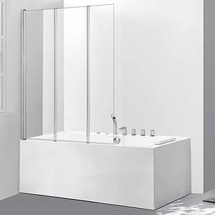 Стеклянная шторка для ванны AVKO Glass 542-3 120х140 см перегородка для ванной