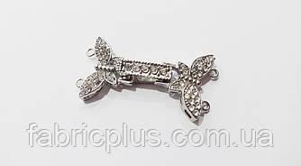 Застежка для бус браслетов цвет серебро со стразами 20*35 мм