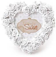 Фоторамка Sweet White Белые Розы форма сердца 16х16см BD-493-510