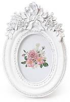 Фоторамка Sweet White Белый Букет овальная 13.5х9см BD-493-519