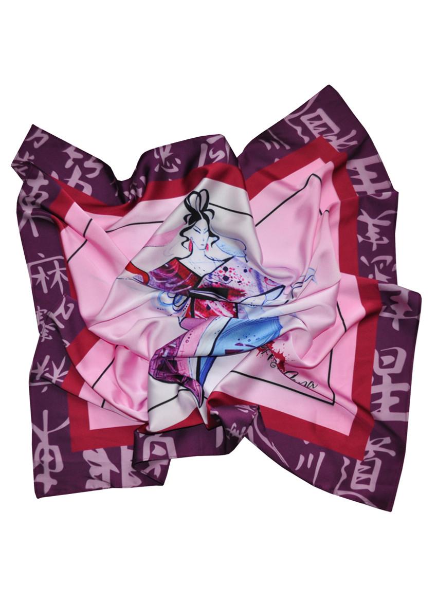 """Дизайнерский шелковый платок """"Восточная гейша"""""""