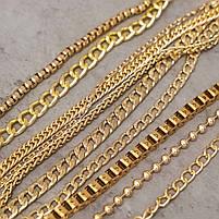 Цепь двойная якорная 120 см (7,5 мм ширина звена) золото, поворотный карабин (38 мм), фото 3