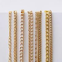 Якірна ланцюг плоска 120 см (8 мм ширина ланки) золото, поворотний карабін 38 мм, фото 2