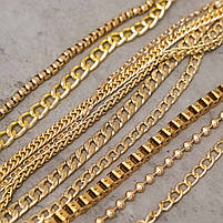 Якірна ланцюг плоска 120 см (8 мм ширина ланки) золото, поворотний карабін 38 мм, фото 3