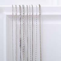 Якірна ланцюг плоска 120 см (8 мм ширина ланки) срібло, поворотний карабін замок, фото 2