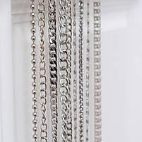 Якірна ланцюг плоска 120 см (8 мм ширина ланки) срібло, поворотний карабін замок, фото 3